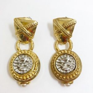 3 for $25 I Drop Dangle Earrings Shield Gold Tone